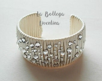 Oval Bangle-clad in beige soutache with Swarovski crystals