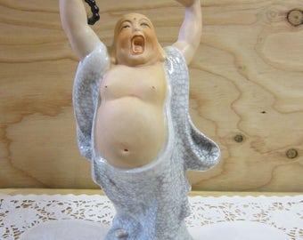 "Vintage Ceramic Yawning Buddha Figurine * Buddha With Raised Arms * Laughing Buddha Statue * 9 1/4"" Tall"