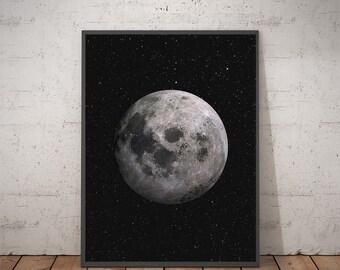 Moon - Moon Print Art - Moon Art - Wall Art - Moon Print Art - Moon Poster - Digital Print Art - Digital Download - Moon Wall Decor - Luna