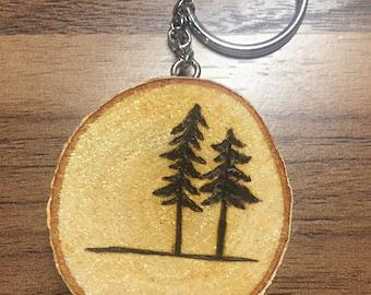 Birch Wood Keychain with Tree Design