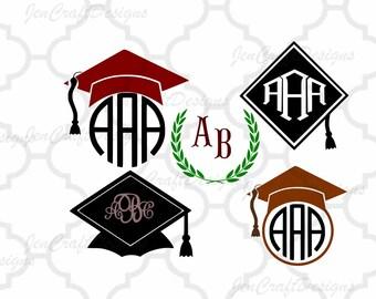 Graduation SVG, Graduation Cap SVG, Graduation Cap Cut Files, svg, dxf, ai, eps, png, jpg Graduation monogram frame, Graduation Hat Clipart