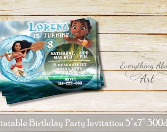 Moana invitation, Moana birthday party, Baby Moana invitation, Aloha invitation, Moana invitations
