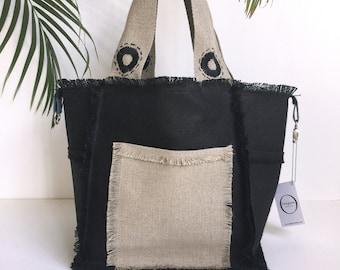 Jean's reversible linen black linen bag