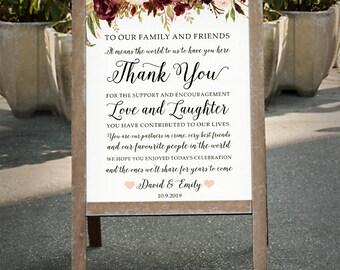 Printable THANK YOU wedding sign customized Burgundy Floral wedding poster outdoor decor DIY wedding decoration digital files - bpf-23