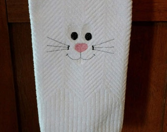 Bunny Face Embroidered on White Kitchen Towel.  Spring towel.