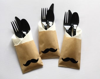 Mustache Cutlery Bags - Mustache Baby Shower - Little Man - It's a Boy - Stache Bash - Bachelor Party - Mustache Party - Mustache and Lips