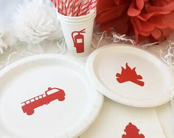 Fireman Party Pack - Firetruck Plates - Fire Birthday - Fire Extinguisher Cups - Hydrant - Hook and Ladder Party - Firefighter Party Cups