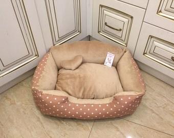 Beige dog bed Designer pet bed
