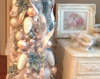 SALE*Shabby-Chic Christmas Blue Stackable Tin Box's