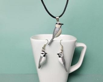 Mountain chickadee set of earrings and pendant (Poecile gambeli)