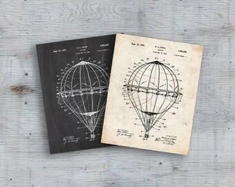 75% OFF SALE  Hot Air Balloon 1923 Patent Poster, Hot Air Balloon Nursery, Around the World, Balloon Patent, Wall Decor, Hot Air Balloon Art