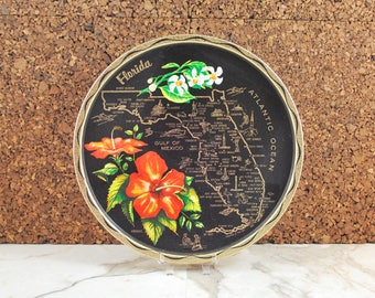Vintage Florida Souvenir Tray, Florida State Map, Black and Gold Plate, Orange Hibiscus, Decorative Tray, State Souvenir, Tropical Decor 60s