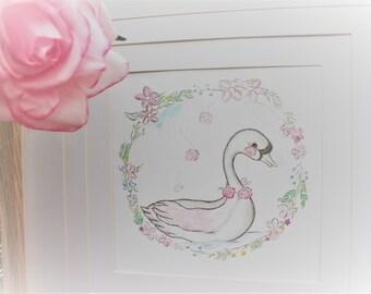 Swan print, swan  prints, girls room print, baby girl nursery print, swan art, swan print, swan picture