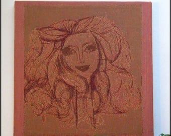 Retro 70s Pop Art Wall Tapestry Canvas, Portrait Young Woman, Jacquard Weaving Fiber Art Wall Decor
