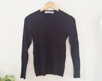 Vintage black ribbed knit sweater