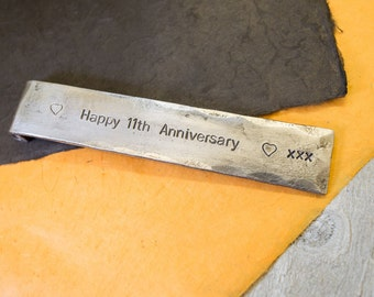 11th ANNIVERSARY GIFT with personalised message//steel bookmark//hand stamped personalised anniversary gift//blacksmith made hand forged//