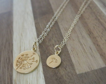 Dandelion Mother and daughter necklaces,Make a wish for Mother daughter Jewelry,Wish necklace,Make a wish,Mother and Daughter,Gold