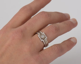 Three Rings Set, 14K White Gold Rings, Delicate Stackable Diamonds Rings, Square Rings, Unique Engagement Rings Set, Modern Diamond Rings,