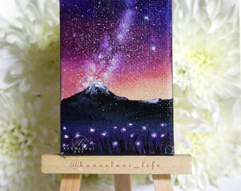 Mini Painting - Paintings on Canvas - Landscape Painting - Flower Field - Space Art - Galaxy Painting - Stars - Milky Way - Wall Art