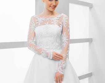 Lace top, long sleeved lace top, bridal separates