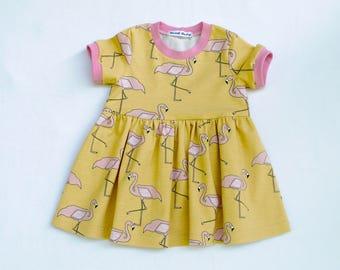 Organic Baby Dress,Organic Toddler Dress ,FLAMINGO GOLD ,Elvelyckan Design