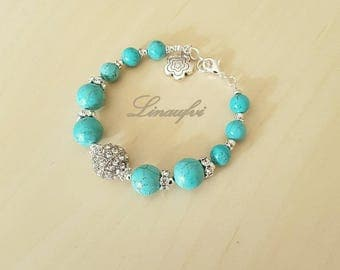 Turquoise Bracelet - Blue Bracelet - Blue Gemstone - Adjustable Length - Silver Tone