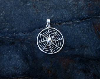 Sterling Silver Spiderweb Pendant - #440
