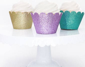 Mermaid Colored Cupcake Wrappers, Gold Cupcake Wrapper, Purple Cupcake Wrapper, Aqua Cupcake Wrapper, Custom Color Cupcake Wrappers