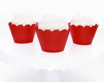 Red Cupcake Wrapper, Custom Cupcake Wrapper, Standard Size Cupcake Wrappers, Custom Color Cupcake Wrappers