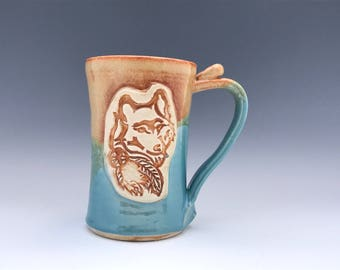 20 Ounce Wolf Pottery Beer Stein - Beer Mug - Wheel Thrown Beer Stein - Gold and Turquoise - Best Man Beer Stein