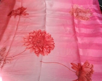 Deep Pink Scarf. Women's Scarf, Ruby Scarf. Raspberry Scarf. 36 Inches Square Bright Pink with Flowers