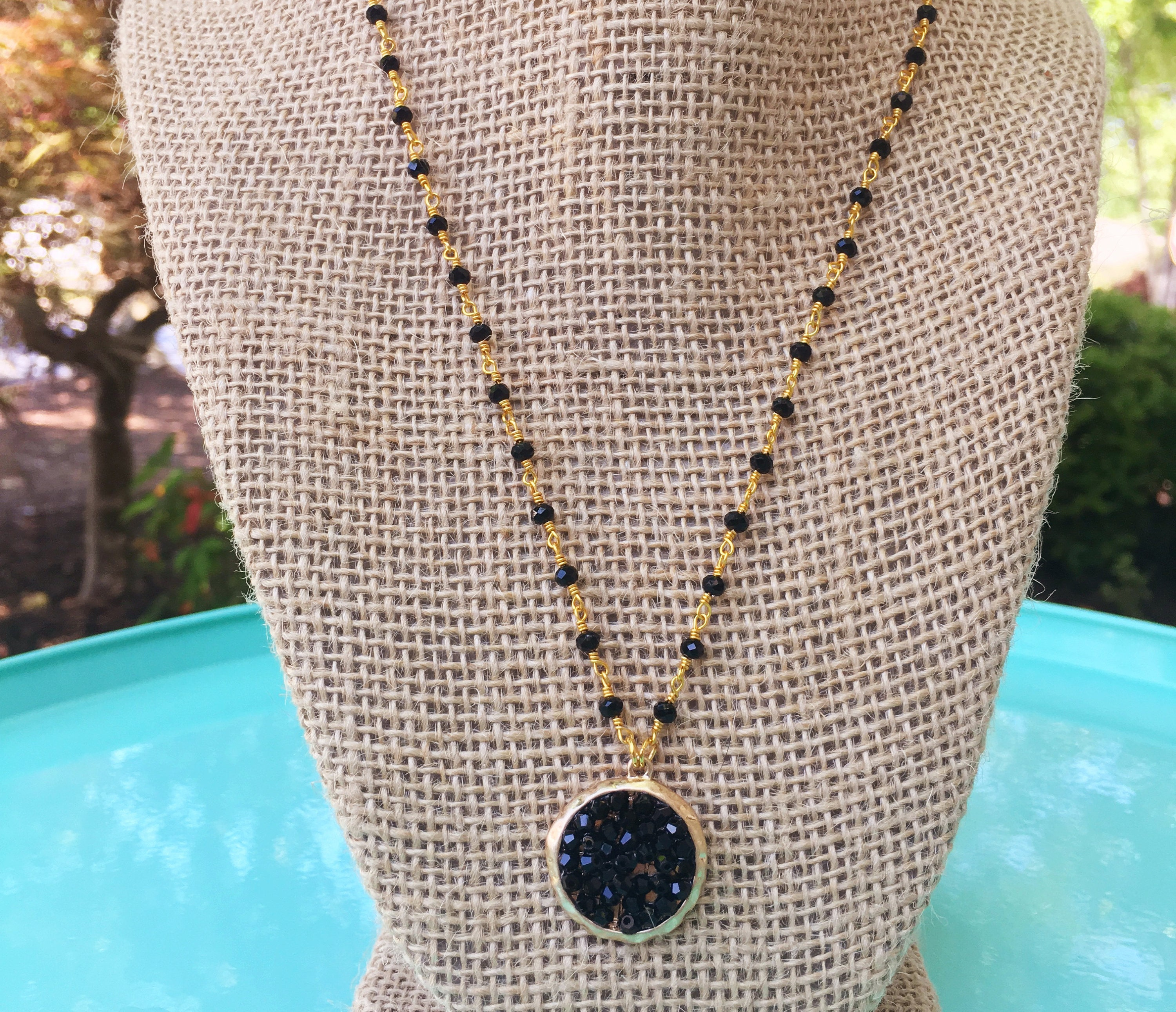 Crystal Beaded Pendant Necklace/ Statement Necklace / Trendy ...