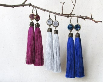 Druzy earrings Blue Burgundy earrings Gray tassel earrings Statement tassel Long earrings Best friends gift Party earrings Bridesmaids gift