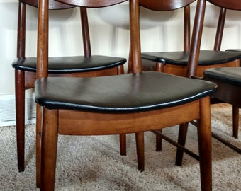 SOLD SOLD SOLD - Mid Century Danish Modern Stanley Set of Six Dining Chairs