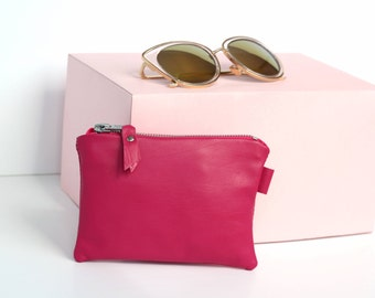 Hot Pink Leather Bag // Leather Makeup Bag // Small Leather Clutch // Custom Monogram // Coin Purse Small // Gift for Mom