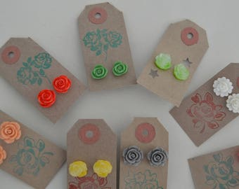 Earrings/Silver plated earrings with colourful resin flowers/Various colours/Fashion jewellery