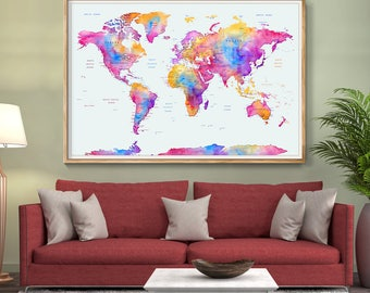 Abstract large wall art turquoise world map art prints home large wall art word map push pin pink watercolor travel wall art print poster sciox Images