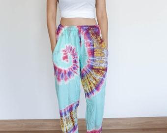 Women's Straight Cut Tie Dye Pants Tie Dye Trousers Tie Dye Harem Pants Yoga Pants Hippie Pants Festival Boho Bohemian Pants Hippy Fashion