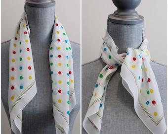 A-OK Scarf | vintage rainbow polka dot scarf