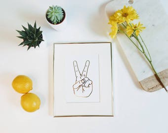 Hand Drawn Peace Sign Gold Foil Print        gallery wall print, apartment decor, gold foil prints, home decor, modern prints