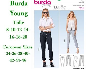 Burda, 6798, Pants, semi-fitted, 8-20, 2 models, 7 sizes, women, new, uncut, never used
