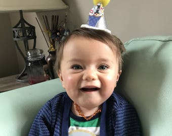 First Birthday Hat/ Smash Cake Hat/ Mini Baby's Birthday Hat/ Baby Boy Party Hat/ Baby's First Birthday Hat/ Baby's 1st Birthday