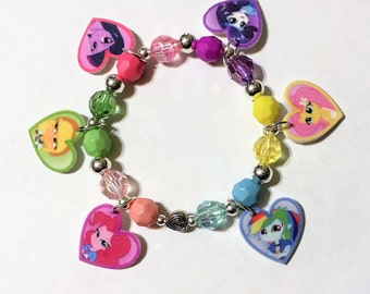 My Little Pony Equestria Girls Mane 6 Heart Charm Bracelet, Equestria Girls Charm Jewelry, Equestria Girls Party Favors,