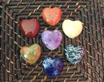 Crystal Heart SET for Chakras Healing, Meditation, Yoga, Gift Set