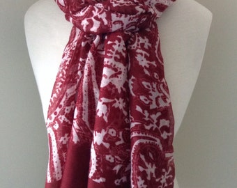 Red Infinity Scarf with white paisley pattern - Long  and light weight for any season