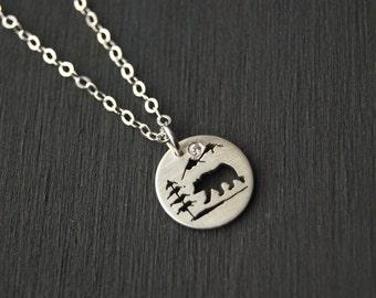 Sterling Silver Bear Pendant, Silver pendant, Small Silver Pendant, Silver Jewelry, Tree Pendant, West Coast Jewelry, Canadian Jewelry