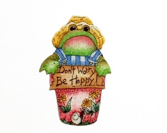 "Frog, Magnet, ""Don't Worry be Hoppy,"" Unique Gift, Toads, Frog Frog Collection, Frog Lover, Flower Pot, Frog Magnet, Quirky, Frog and Toad"