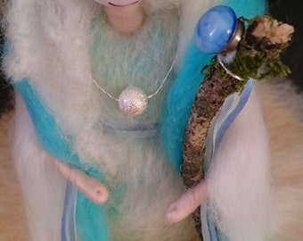 Wool Felted Winter Fairy. Hand crafted. Soft Merino Wool Fairy