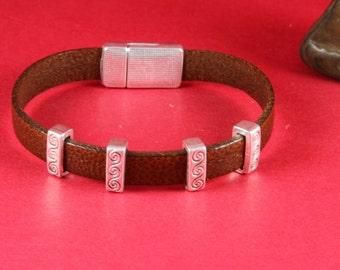 3/7 MADE in EUROPE 4 zamak slider bars, 10mm flat cord slider bars, 10mm leather cord simple sliders, zamak sliders (9404-0077) Qty4