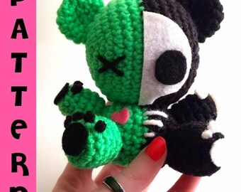 Crochet Pattern - Plush Bear Zombie Amigurumi - Skeleton Bear - Stuffed Animal - DIY Plush Pattern - Crochet Pattern - Digital Download PDF